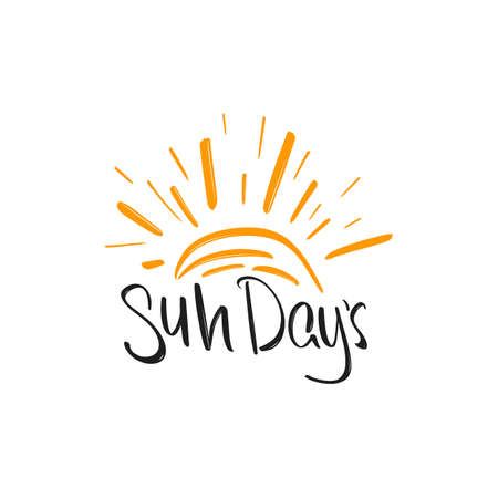 Sun days hand drawn modern brush lettering with sunburst. Vector illustration logo text for webpage, print and advertising