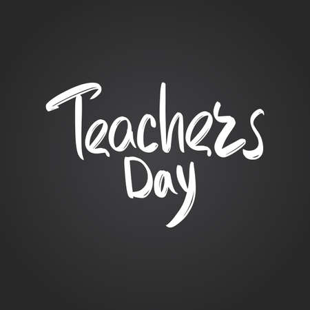 Teachers day hand drawn modern brush lettering text. Vector illustration of business logo for webpage, print and advertising