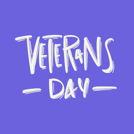 Veterans day hand drawn modern brush lettering text. Vector illustration of business logo for webpage, print and advertising Illusztráció