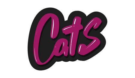 Cats modern brush lettering text. Vector illustration logo for print and advertising