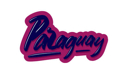Paraguay modern brush lettering text. Vector illustration logo for print and advertising