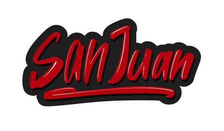 San Juan modern brush lettering text. Vector illustration logo for print and advertising