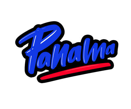 Panama cartoon brush lettering text. Vector illustration logo for print and advertising