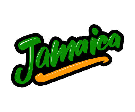 Jamaica cartoon brush lettering text. Vector illustration logo for print and advertising