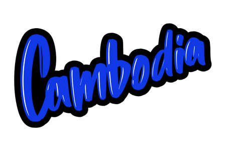 Cambodia cartoon brush lettering text. Vector illustration logo for print and advertising