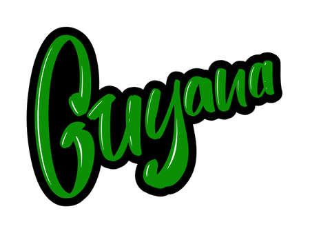 Guyana cartoon brush lettering text. Vector illustration logo for print and advertising