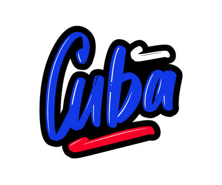 Cuba cartoon brush lettering text. Vector illustration logo for print and advertising