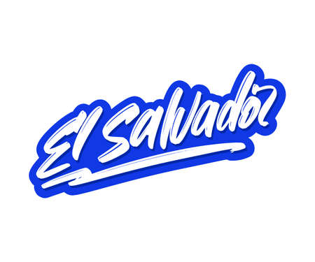 El Salvador cartoon brush lettering text. Vector illustration logo for print and advertising Illustration