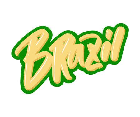 Brazil cartoon brush lettering text. Vector illustration logo for print and advertising