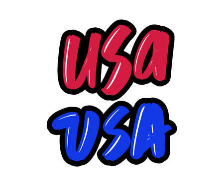USA cartoon brush lettering text. Vector illustration logo for print and advertising