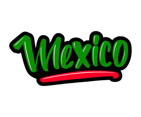 Mexico cartoon brush lettering text. Vector illustration logo for print and advertising