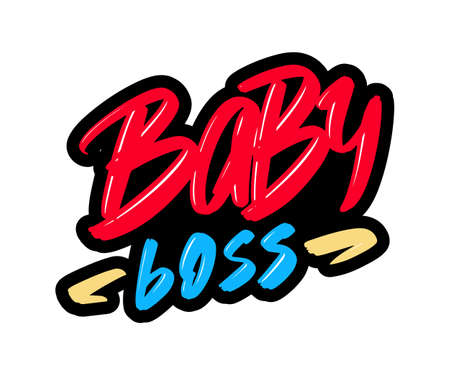 Baby boss cartoon brush lettering text. Vector illustration logo for print and advertising