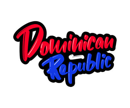 Dominican Republic cartoon brush lettering text. Vector illustration logo for print and advertising