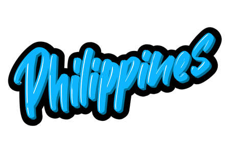 Philippines hand drawn modern brush lettering text. Vector illustration logo for print and advertising