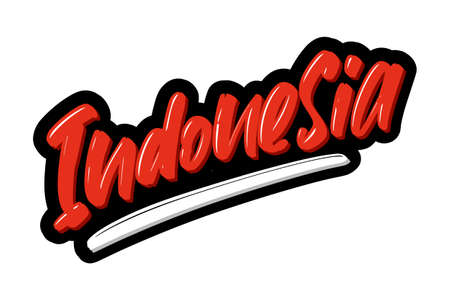 Indonesia hand drawn modern brush lettering text. Vector illustration logo for print and advertising