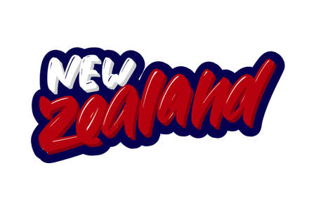 New Zealand hand drawn modern brush lettering text. Vector illustration logo for print and advertising