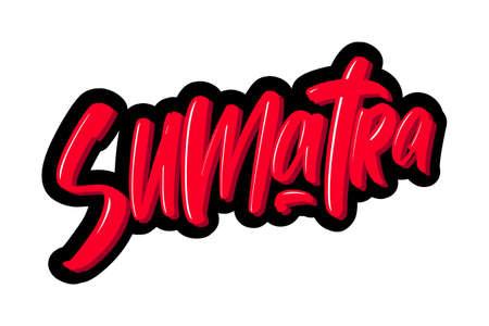 Sumatra hand drawn modern brush lettering text. Vector illustration logo for print and advertising