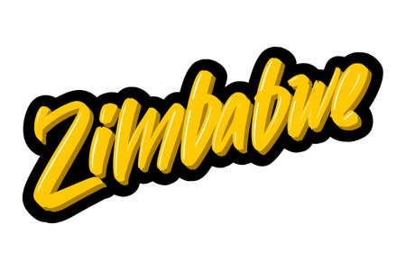 Zimbabwe hand drawn modern brush lettering text. Vector illustration logo for print and advertising