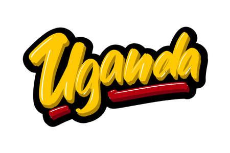 Uganda hand drawn modern brush lettering text. Vector illustration logo for print and advertising Stock Illustratie
