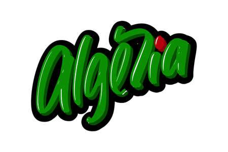 Algeria hand drawn modern brush lettering text. Vector illustration logo for print and advertising