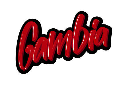Gambia hand drawn modern brush lettering text. Vector illustration logo for print and advertising