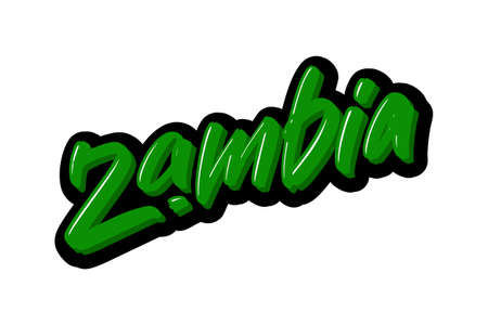 Zambia hand drawn modern brush lettering text. Vector illustration logo for print and advertising