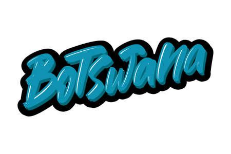 Botswana hand drawn modern brush lettering text. Vector illustration logo for print and advertising Illustration