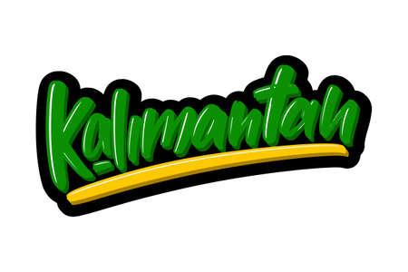Kalimantan hand drawn modern brush lettering text. Vector illustration logo for print and advertising