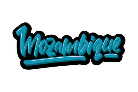 Mozambique hand drawn modern brush lettering text. Vector illustration logo for print and advertising