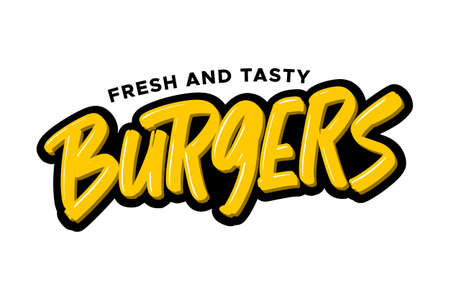 Burgers hand drawn modern brush lettering. Vector illustration logo text for business, print and advertising
