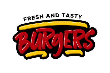Burgers hand drawn modern brush lettering. Vector illustration logo text for business, print and advertising.