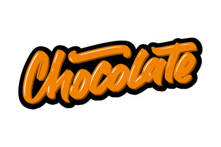 Chocolate hand drawn modern brush lettering. Vector illustration logo text for business, print and advertising. Stock Illustratie