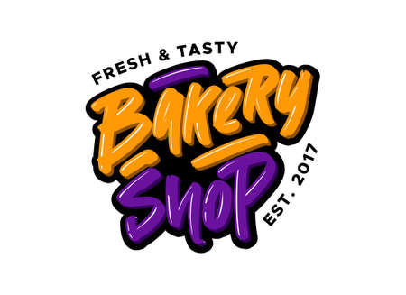 Bakery shop hand drawn modern brush lettering. Vector illustration logo text for business, print and advertising.