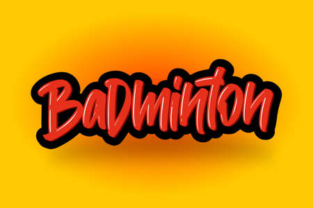 Badminton hand drawn modern brush lettering. Vector illustration logo text for business, print and advertising.