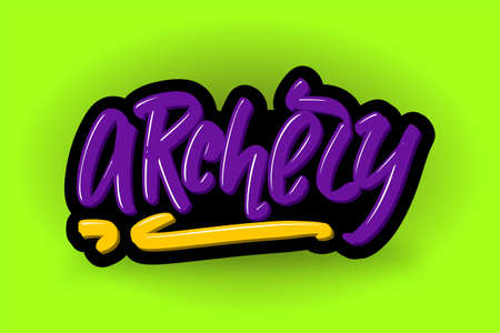 Archery hand drawn modern brush lettering. Vector illustration logo text for business, print and advertising. Stock Illustratie