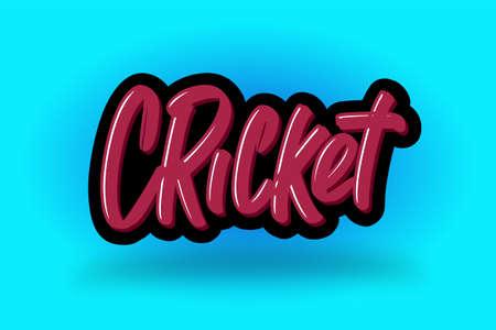 Cricket hand drawn modern brush lettering. Vector illustration logo text for business, print and advertising. Stock Illustratie