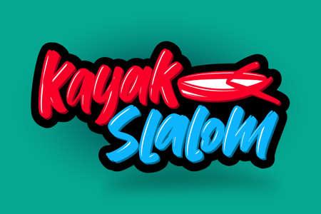 Kayak slalom hand drawn modern brush lettering. Vector illustration logo text for business, print and advertising.