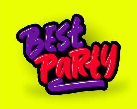 Best Party hand drawn modern brush lettering. Vector illustration logo text for business, print and advertising