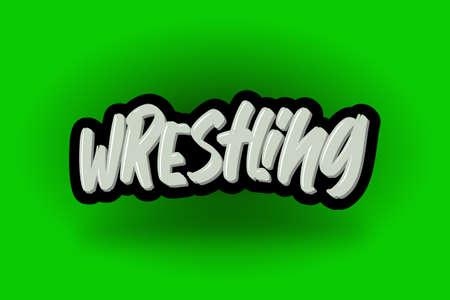 Wrestling hand drawn modern brush lettering. Vector illustration logo text for business, print and advertising.