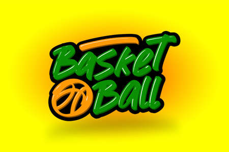 Basketball hand drawn modern brush lettering. Vector illustration logo text for business, print and advertising. Stock Illustratie