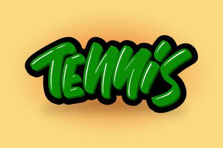Tennis hand drawn modern brush lettering. Vector illustration logo text for business, print and advertising. Stock Illustratie