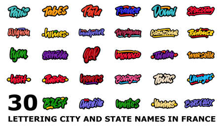 Vector collection of 30 lettering city and state names of France. Hand drawn modern brush lettering text for print and advertising