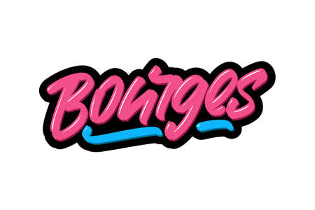 Bourges, France city hand drawn modern brush lettering. Vector illustration logo text for webpage, print and advertising