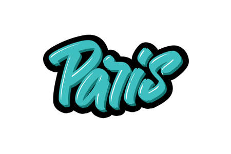 Paris, France city hand drawn modern brush lettering. Vector illustration logo text for webpage, print and advertising