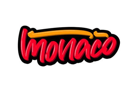 Monaco, France city hand drawn modern brush lettering. Vector illustration logo text for webpage, print and advertising