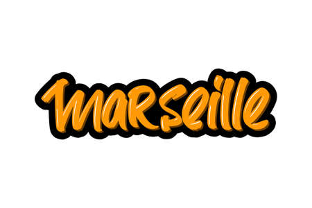 Marseille, France city hand drawn modern brush lettering. Vector illustration logo text for webpage, print and advertising Banque d'images - 136786077