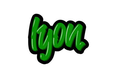 Lyon, France city hand drawn modern brush lettering. Vector illustration logo text for webpage, print and advertising Stock Illustratie