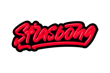 Strasbong, France city hand drawn modern brush lettering. Vector illustration logo text for webpage, print and advertising Banque d'images - 136786084
