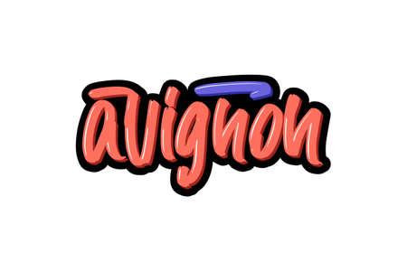 Avignon, France city hand drawn modern brush lettering. Vector illustration logo text for webpage, print and advertising