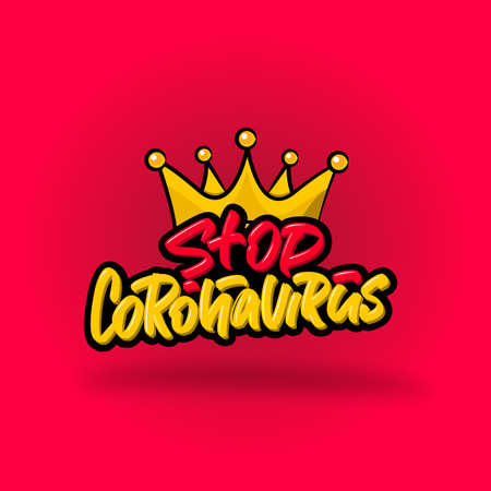Stop Coronavirus hand drawn brush lettering text on pink background. Vector illustration logo text for webpage, print and advertising.